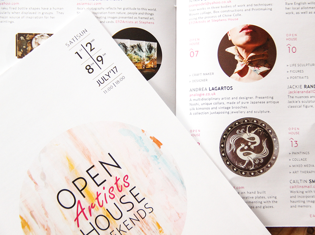 brochure design open artists house weekend